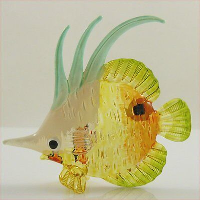 Glass Figurine Fish Tropical Handpainted Yellow/White Butterfly Approx 3.3 inch
