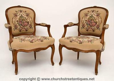 Pair Of Antique French Walnut Salon Armchairs - Tapestry Upholstery