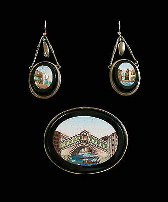 Grand Tour Micro Mosaic Suite of Jewels - Views of Venice - Italy - 19th Century