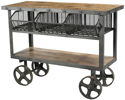 "48"" L Iron trolley 3 tray reclaimed wood top steel mesh drawer OPPORTUNITY"