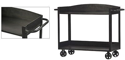 "51"" L  Industrial Iron trolley sideboard casters gunmetal finish hand crafted"