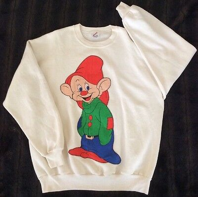 Rare Vintage 80's Made In USA 2 Sided Quilted Embroidered Dopey 7 Dwarves XL