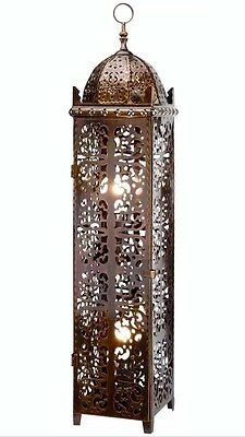 Vintage Metal Ethnic Moroccan Style Floor/Table Lamp Intricate Design NEW 82cm