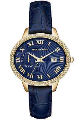 Brand New Michael Kors Mk2429 Womens Pave Crystal Watch Blue Gold Leather Strap