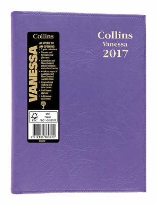 2017 Collins Vanessa Diary Diaries A6 Week To Open - Purple