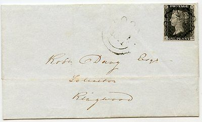 RARE 1841 1d black pl. 11 CD on cover to Ringwood from Poole - black Maltese X
