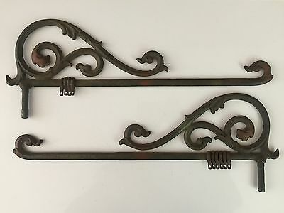 Set of 2 ANTIQUE Swing Arm CURTAIN RODS or PLANT HANGER HOOK Cast Iron VICTORIAN