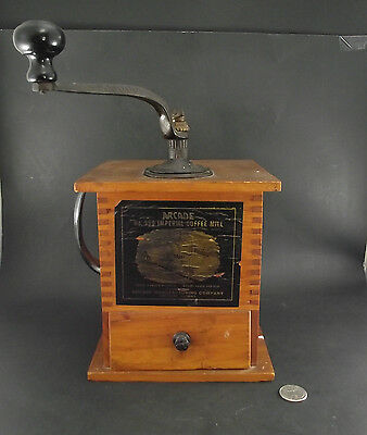 Antique Arcade Wood With Cast Handle Coffee Bean Grinder Or Mill   No 999