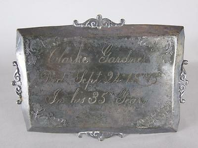 ANTIQUE SILVERPLATED COFFIN PLATE c.1875~ 35 YEAR OLD MAN~ CASKET PLAQUE
