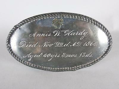 ANTIQUE SILVERPLATED COFFIN PLATE c.1865~ 40 YEAR OLD WOMAN~ CASKET PLAQUE