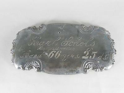 LARGE ANTIQUE SILVERPLATED COFFIN PLATE c.1903 ~ 66 YEAR OLD MAN~ CASKET PLAQUE