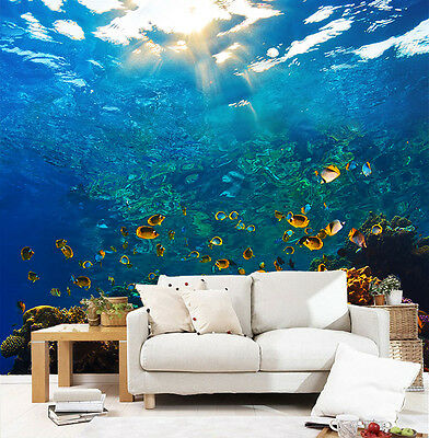 3D Deep Ocean Fish WallPaper Murals Wall Print Decal Wall Deco AJ WALLPAPER