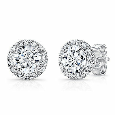 1.21ct White Diamond Stud Earring 14K White Gold Over