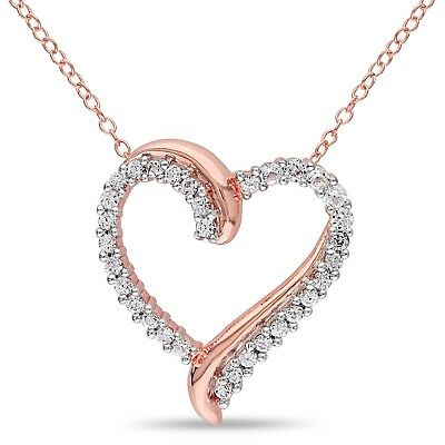"""Pink Sterling Silver 3/4 ct TGW White Sapphire Heart Pendant Necklace 18"""""""