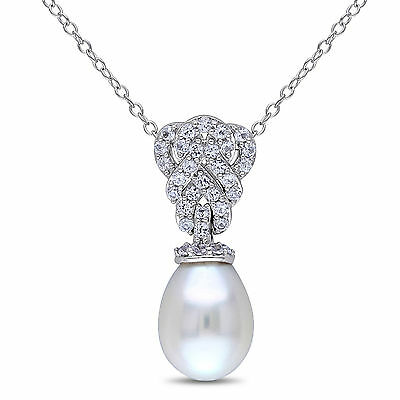 Sterling Silver 9-9.5 mm Pearl and White Sapphire Drop Pendant Necklace 18""