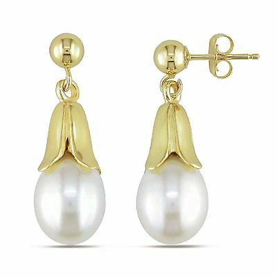 Amour 14k Gold 8-8.5 mm Cultured Freshwater Rice Pearl Dangle Earrings