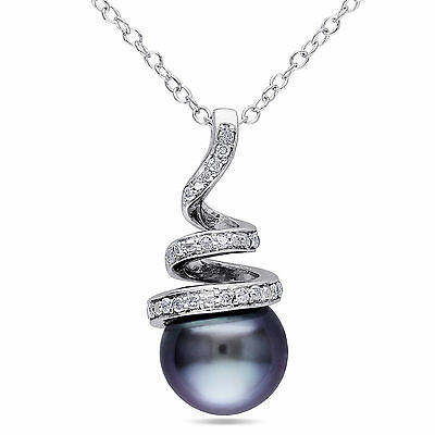 """Sterling Silver 8-8.5 mm Tahitian Pearl & 1/10 ct Diamond Pendant Necklace 18"""""""