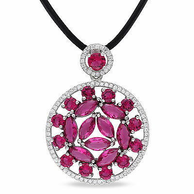 """Sterling Silver White & Red CZ Medalilion Pendant Necklace 24"""" Leather Cord"""