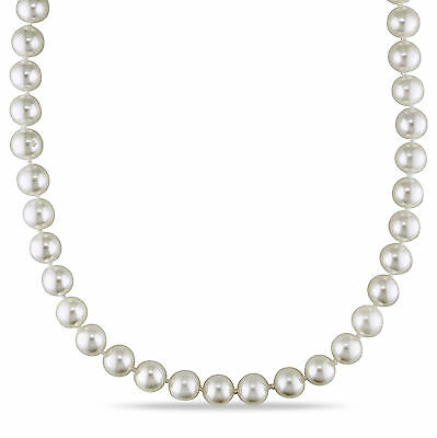 """Amour 14k Yellow Gold Akoya White Pearl Strand Necklace 7-7.5 mm 17"""""""