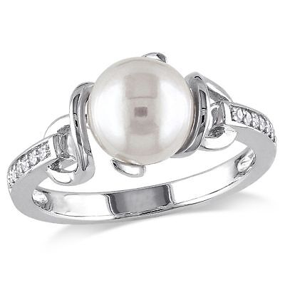 Sterling Silver Freshwater White Pearl and Diamond Cocktail Ring 8-8.5 mm