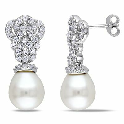 Sterling Silver 9-9.5 mm Cultured Freshwater Pearl and White Sapphire Earrings
