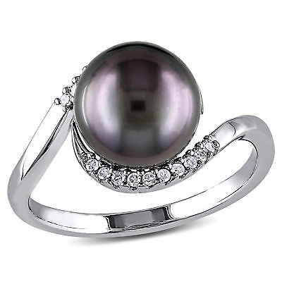 Amour Silver Tahitian Pearl and 1/10 Ct TDW Diamond Cocktail Ring H-I I2-I3