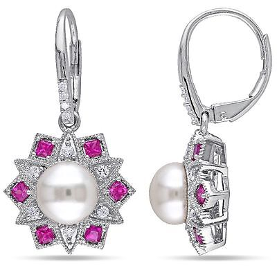 Sterling Silver Cultured Pearl Ruby and Diamond Dangle Leverback Earrings
