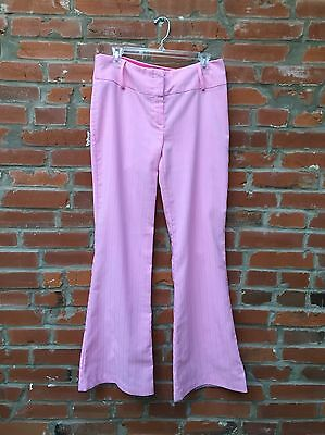 Vintage 90s Pink Mid Rise Flare Pants Womens (973)