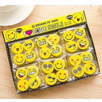Cute 4PCS Funny Emoji Rubber Pencil Eraser Novelty Students Stationery Gift Toy