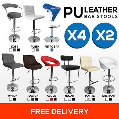 4x PU Leather Bar Stool Kitchen Gas Lift Swivel Chair Barstool Black White Red