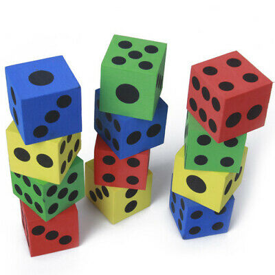 """12Pcs 1.5"""" Foam Playing Dice Teaching Tool Party Favors Birthday Learning Fun"""