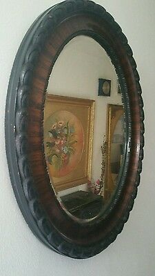 Edwardian  Wooden Heavy Carved Frame With  Mahogany & Beveled Wall Mirror