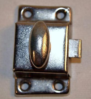 Vintage Metal Silver Small Door Cabinet Latch Lock Turn Knob Spring Loaded