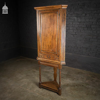 Georgian Oak Corner Cupboard on Stand with Fluted Detail