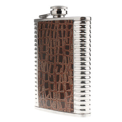 8oz Portable Stainless Steel Liquor Hip Flask Russia Camping Flagon Brown