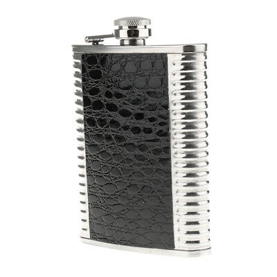 8oz Portable Stainless Steel Liquor Hip Flask Russia Camping Flagon Black