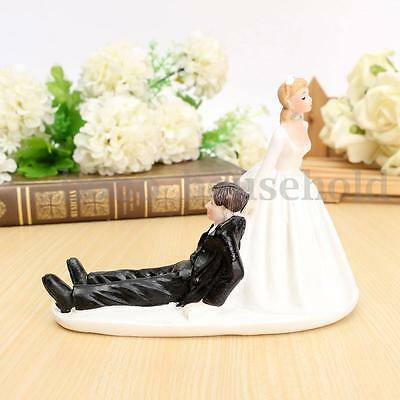 Funny Resin Figurine Wedding Cake Toppers Bride Groom Follow Me Marriage Favor