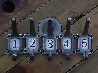 5 Vintage Industrial Style Numbered Coat Hooks cast iron pegs old used look five