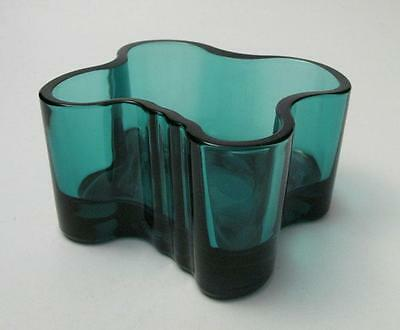 Rare Sea Blue Iittala Finland Alvar Aalto Art Glass Candle Holder Scandinavian