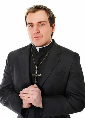 Black Shirt Front With Collar Vicar Priest Fancy Dress Costume Vicars & Tarts