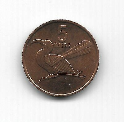 "World Coins - Botswana 5 Thebe 1984 Coin KM# 4 , ""Red-billed hornbill"""
