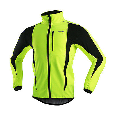 Green Thermal Cycling Jacket Winter Warm Up Bicycle Clothing Windproof Jacket