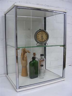 Vintage Art Deco metal & glass medical Industrial cabinet curio display cupboard