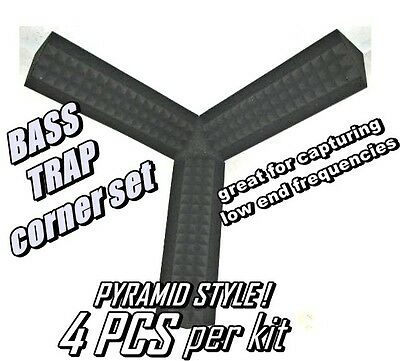 Small CORNER BASS TRAP KIT GRAY Studio Soundproofing Acoustic Wedge Foam (1 KIT)