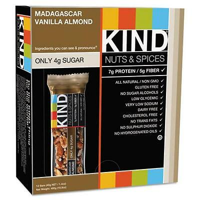 Kind Llc 17850 Nuts and Spices Bar, Madagascar Vanilla/Almond, 1.4 oz, 12/Box