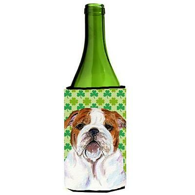 Bulldog English St. Patricks Day Shamrock Wine bottle sleeve Hugger 24 oz.