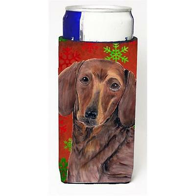Dachshund Red and Green Snowflakes Holiday Christmas Michelob Ultra s for sli...