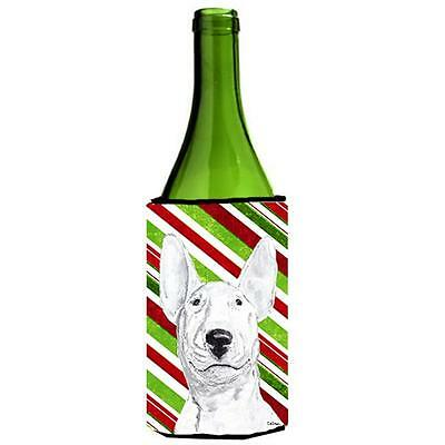 Bull Terrier Candy Cane Christmas Wine bottle sleeve Hugger 24 oz.