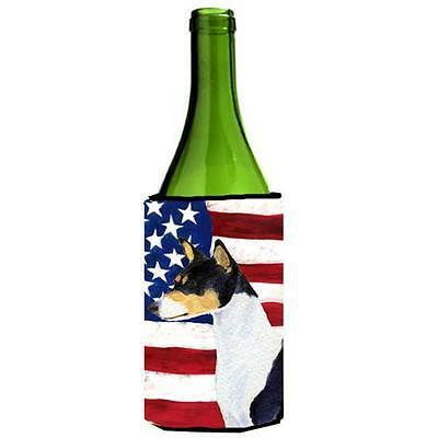 Usa American Flag With Basenji Wine bottle sleeve Hugger 24 oz.
