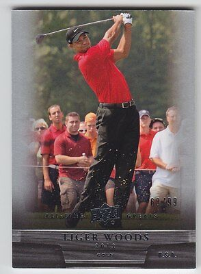 2012-13 UD ALL TIME GREATS TIGER WOODS BASE SILVER 68/99 #9 Upper Deck Golf